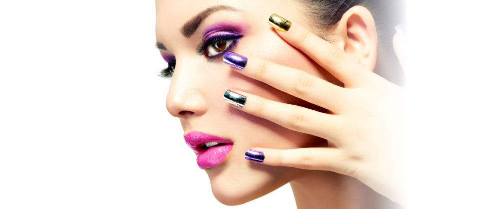 colourful nails and makeup